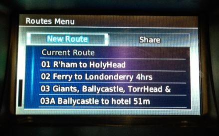 Route menu