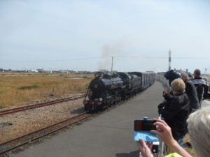 Train pulls in at Dungeness
